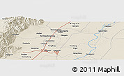 Shaded Relief Panoramic Map of Yinchuan