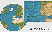 """Satellite Location Map of the area around 38°36'25""""N,10°7'30""""W"""