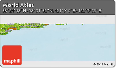 """Physical Panoramic Map of the Area around 38°36'25""""N,121°37'30""""E"""