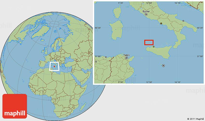 Savanna Style Location Map of Ustica