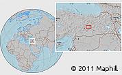 Gray Location Map of Elazığ, hill shading