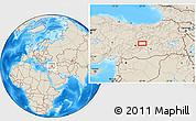 Shaded Relief Location Map of Elazığ