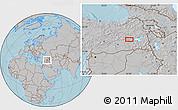 Gray Location Map of Muş, hill shading