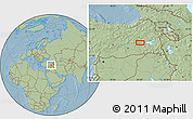 Savanna Style Location Map of Muş, hill shading