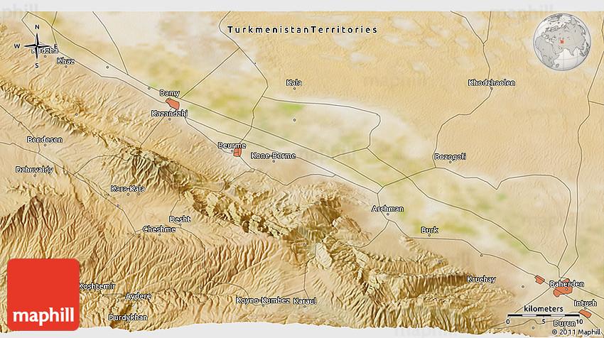Satellite 3D Map of Kara-Kala