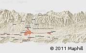 Shaded Relief Panoramic Map of Dushanbe