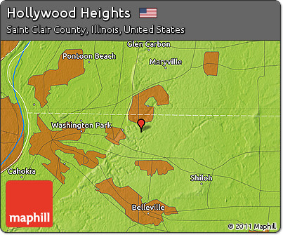 Free Physical Map of Hollywood Heights on outline map of il, topographic map of il, blank map of il, color map of il,
