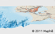 """Shaded Relief Panoramic Map of the area around 38°36'25""""N,9°16'30""""W"""