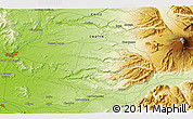 """Physical 3D Map of the area around 38°45'25""""S,72°10'30""""W"""