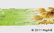 """Physical Panoramic Map of the area around 38°45'25""""S,72°10'30""""W"""