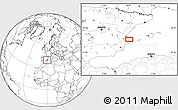 """Blank Location Map of the area around 39°3'25""""N,0°4'30""""E"""