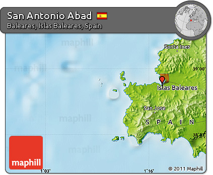 Free Physical Map Of San Antonio Abad