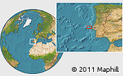 """Satellite Location Map of the area around 39°3'25""""N,10°7'30""""W"""