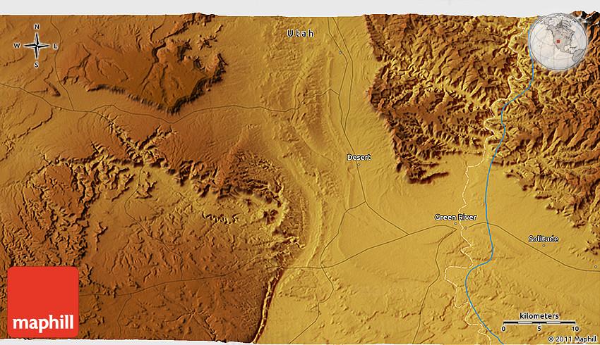 Solitude Utah Map.Physical 3d Map Of Solitude