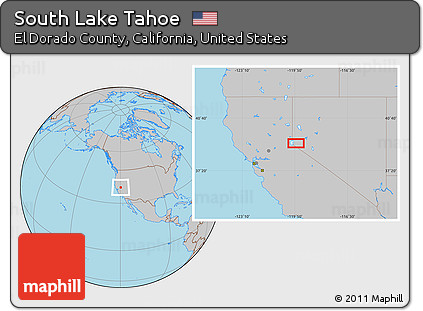 Free Gray Location Map of South Lake Tahoe