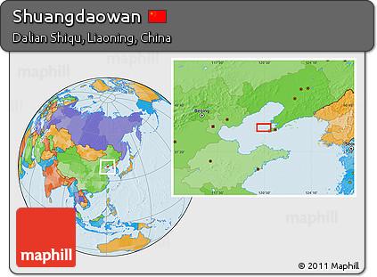 Political Location Map of Shuangdaowan