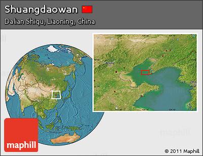 Satellite Location Map of Shuangdaowan