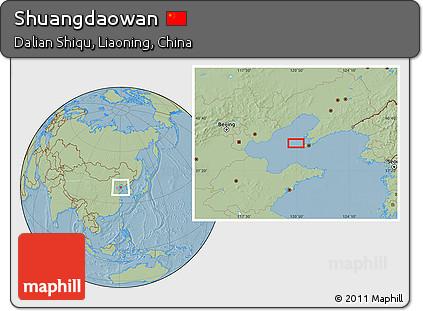 Savanna Style Location Map of Shuangdaowan, hill shading
