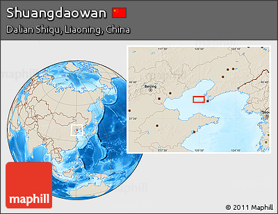 Shaded Relief Location Map of Shuangdaowan