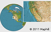 """Satellite Location Map of the area around 39°3'25""""N,120°37'30""""W"""