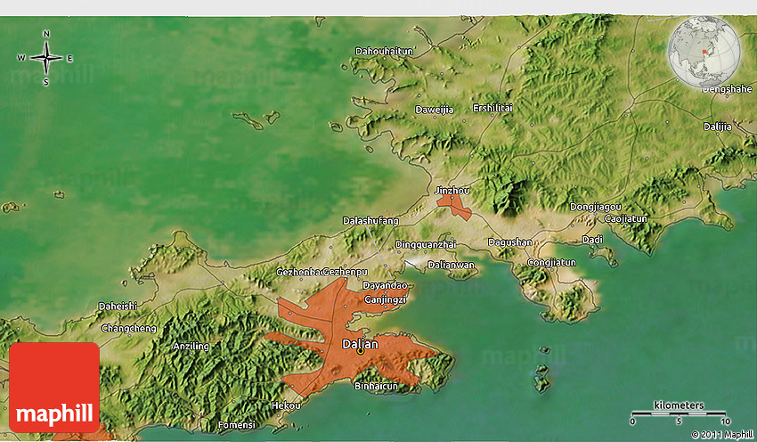 Satellite 3D Map of Dalian