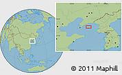 "Savanna Style Location Map of the area around 39°3'25""N,123°19'29""E"
