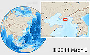 """Shaded Relief Location Map of the area around 39°3'25""""N,123°19'29""""E"""