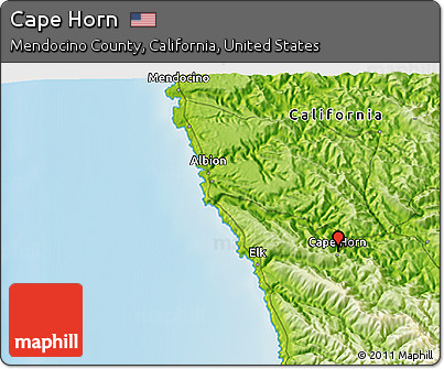 Free Physical 3D Map of Cape Horn