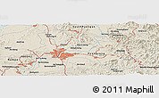 Shaded Relief Panoramic Map of Pyongyang