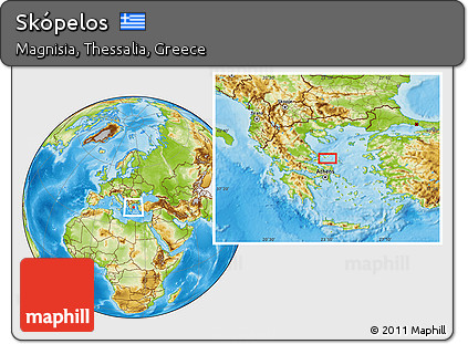 Free Physical Location Map of Skpelos