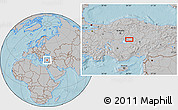 Gray Location Map of Kırşehir, hill shading