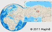 Shaded Relief Location Map of Kırşehir