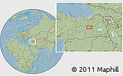 Savanna Style Location Map of Bingöl, hill shading