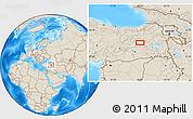Shaded Relief Location Map of Bingöl