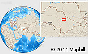 """Shaded Relief Location Map of the area around 39°3'25""""N,62°7'30""""E"""