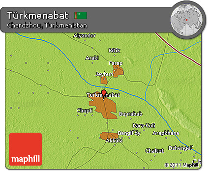 Free Physical 3D Map of Trkmenabat