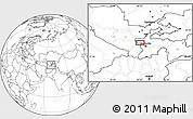 """Blank Location Map of the area around 39°3'25""""N,68°4'29""""E"""