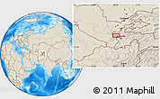 """Shaded Relief Location Map of the area around 39°3'25""""N,68°4'29""""E"""