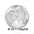 """Outline Map of the Area around 39° 3' 25"""" N, 68° 4' 29"""" E, rectangular outline"""