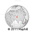 Outline Map of Pamir Mountains, rectangular outline