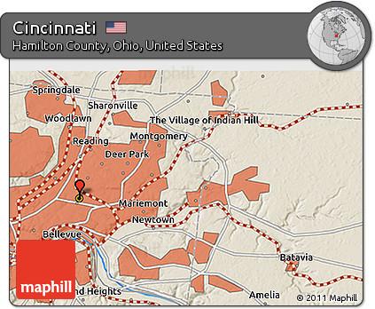 Free Shaded Relief 3d Map Of Cincinnati - Cincinnati-ohio-on-us-map
