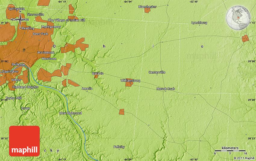 Physical Map of Cincinnati on