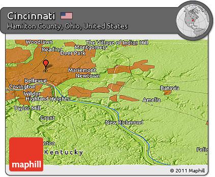 Free Physical Panoramic Map Of Cincinnati - Cincinnati-ohio-on-us-map