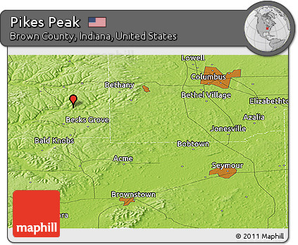 Free Physical Panoramic Map Of Pikes Peak - Pikes-peak-on-us-map