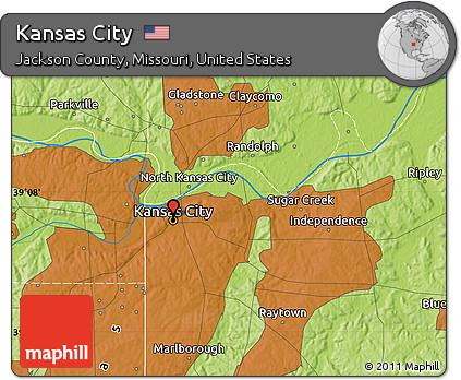 Free Physical Map of Kansas City