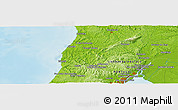 """Physical Panoramic Map of the area around 39°3'25""""N,9°16'30""""W"""