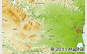 """Physical Map of the area around 39°30'19""""N,0°46'30""""W"""