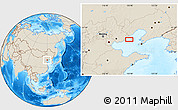 """Shaded Relief Location Map of the area around 39°30'19""""N,119°55'30""""E"""