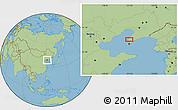 "Savanna Style Location Map of the area around 39°30'19""N,121°37'30""E"