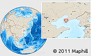 """Shaded Relief Location Map of the area around 39°30'19""""N,121°37'30""""E"""